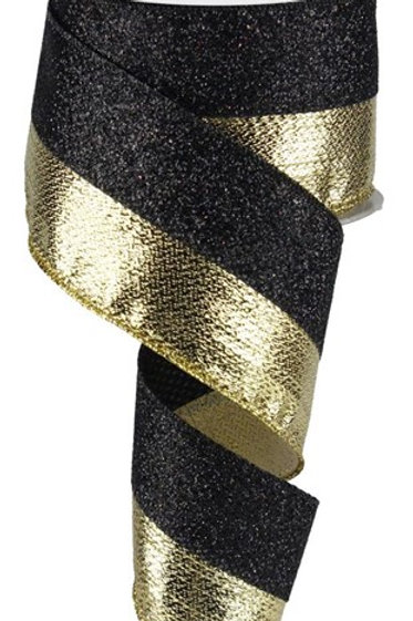 #40 Black Chunky Glitter Ribbon