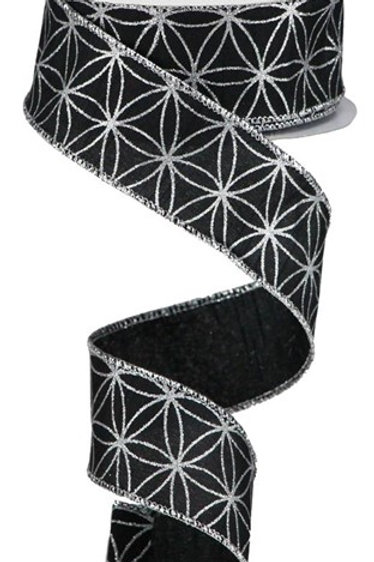 #9 Black Seamless Stars Ribbon