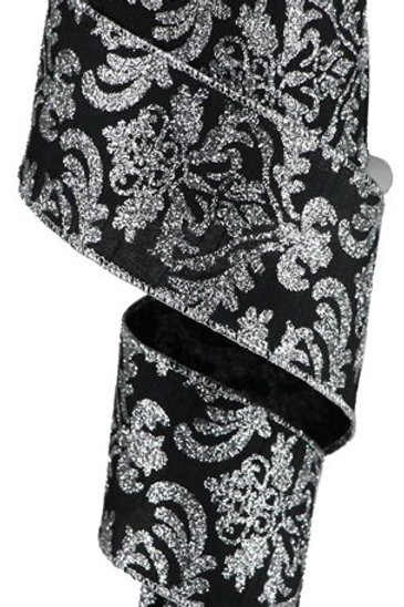 #40 Black/Silver Damask Ribbon