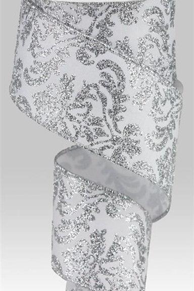#40 White/Silver Damask Ribbon