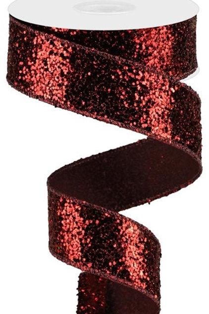#9 Maroon Chunky Glitter Ribbon