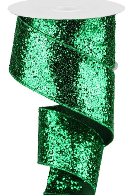 #40 Green Chunky Glitter Ribbon