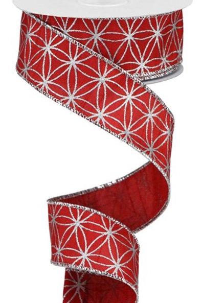 #9 Red/Silver Seamless Stars Ribbon