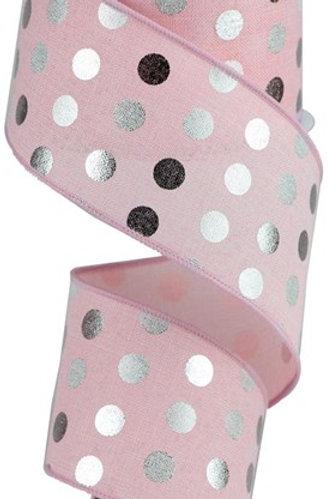 #40 Silver Polka Dots on Pink Royal