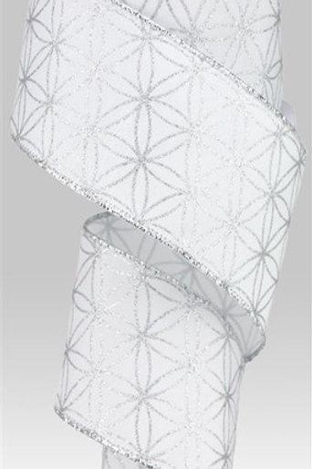 #40 White/Silver Seamless Stars Ribbon
