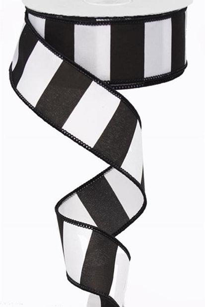 #9 White/Black Striped Ribbon
