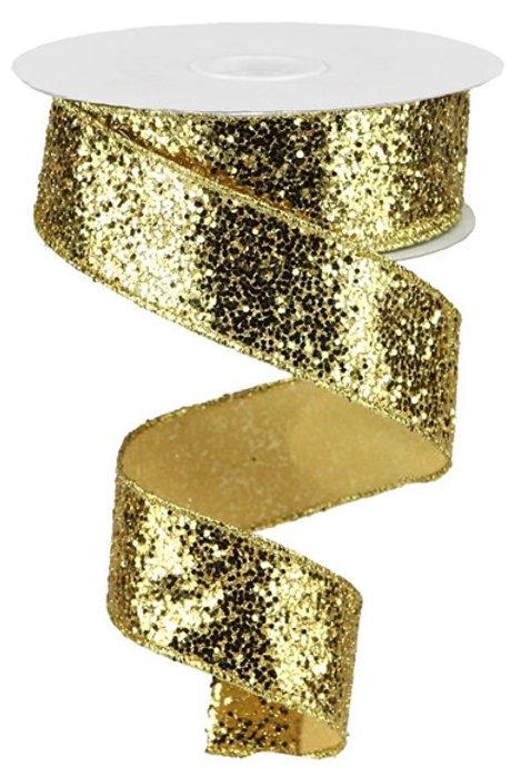 #9 Gold Chunky Glitter Ribbon