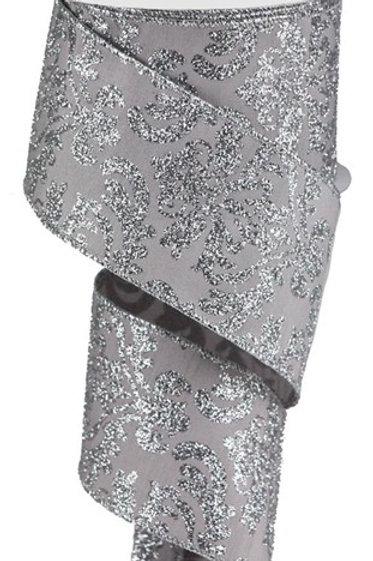#40 Silver/Silver Damask Ribbon