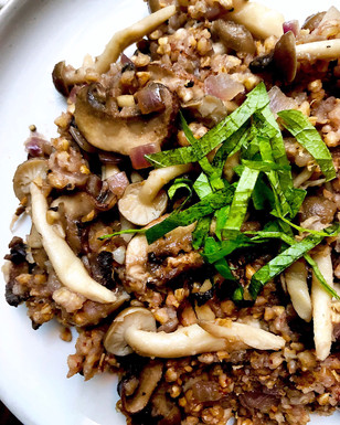 Kasha pilaf with mushrooms & shiso