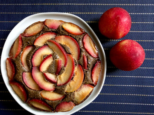 Gluten-free Buckwheat ginger plum cake