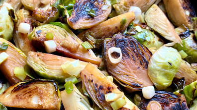 Pan-fried Brussel sprouts with lemon shoyu