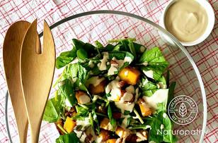 Pumpkin Spinach Vegan Caesar Salad