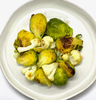 """Veggie Dessert""Pan-steamed Brussel sprouts & Cauliflower"