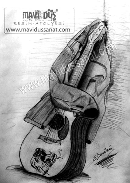 Gitar Çizimi Karakalem