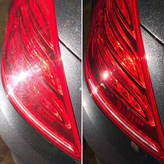 Rear lights, before and after machine polishing.