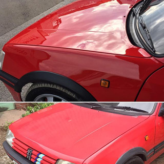Before and after machine polishing