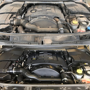 Before and after cleaning a car engine: degreasing the engine, then conditioning all the lastics and hoses