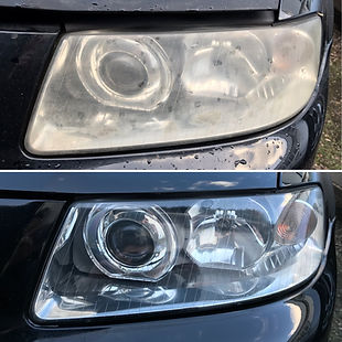 Before and after of a headlight restoration: cloudy yellow headlights are restored to a crystal clear finish and then sealed for protection.
