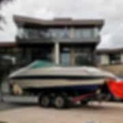Motorboat after machine polishing