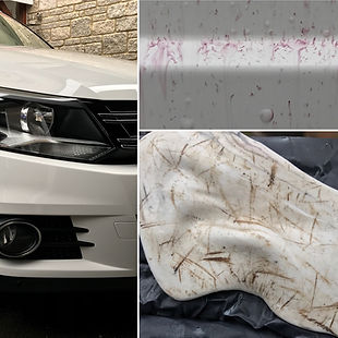 car paint decontamination: clay bar, iron fallout remover and tar spot removal
