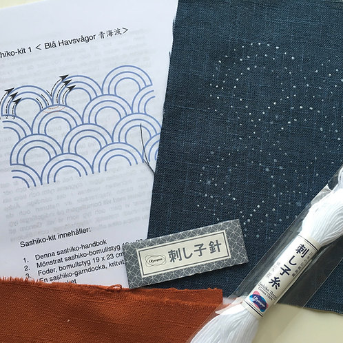 Sashiko-kit 1: Blå havsvågor