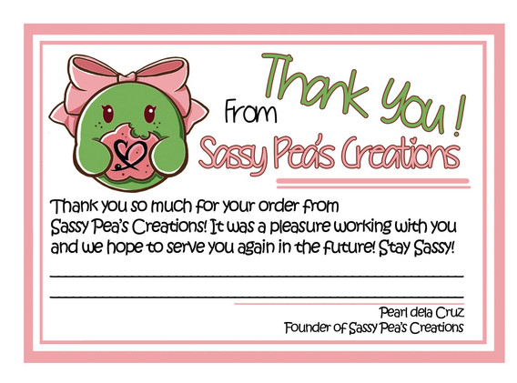 Sassy Pea's Thank You note