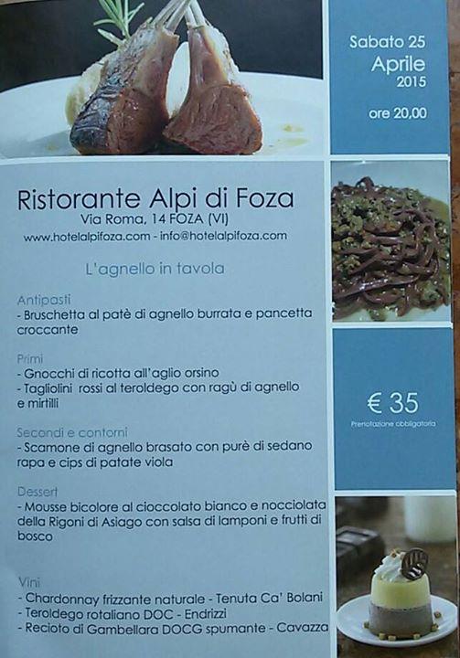 Facebook - Primavera a tavola, Ristorante Alle Alpi, Foza, 25 aprile 2015 nell'Altopiano di Asiago