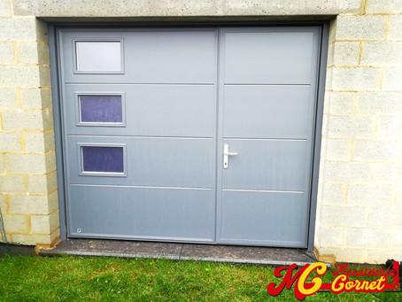 Porte de garage sectionnelle + motorisation de marque Somfy