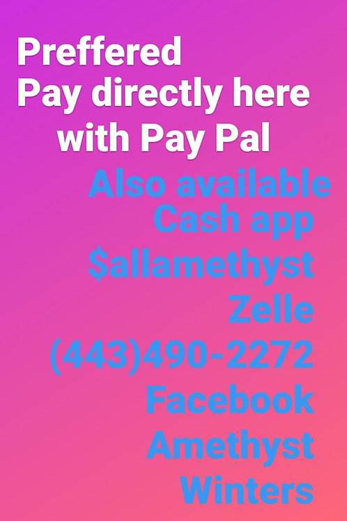 Methods of payments available