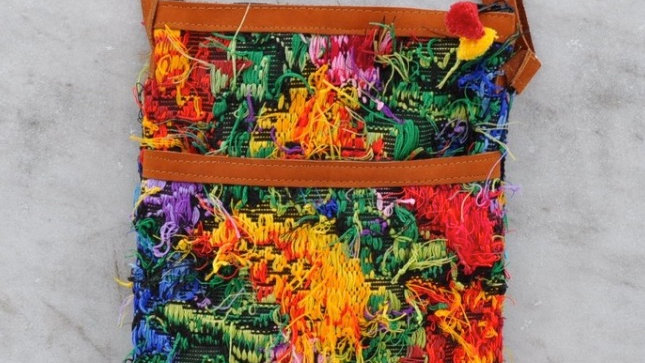 Colorful Loose Threads Recycled Huipil Pouch