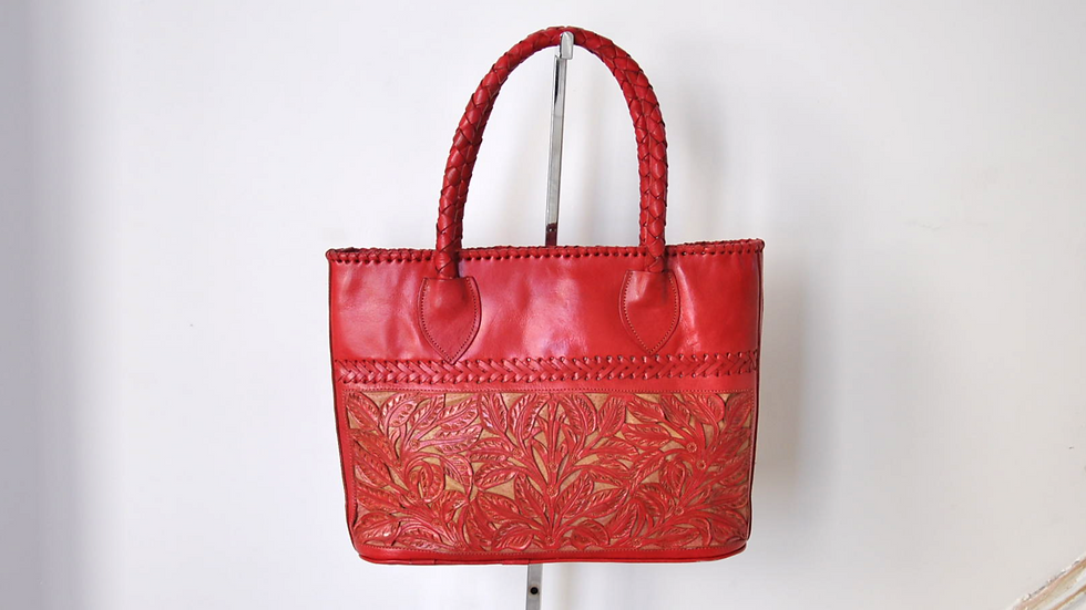 Red Floral Hand Carved Leather Handbag