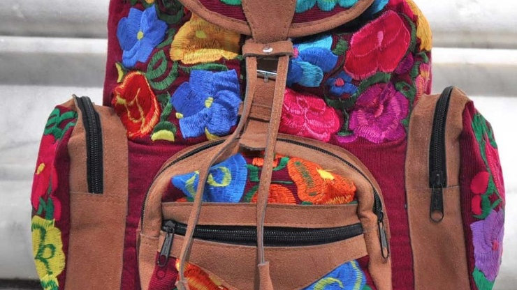 Floral Burgundy Embroidered Huipil Backpack