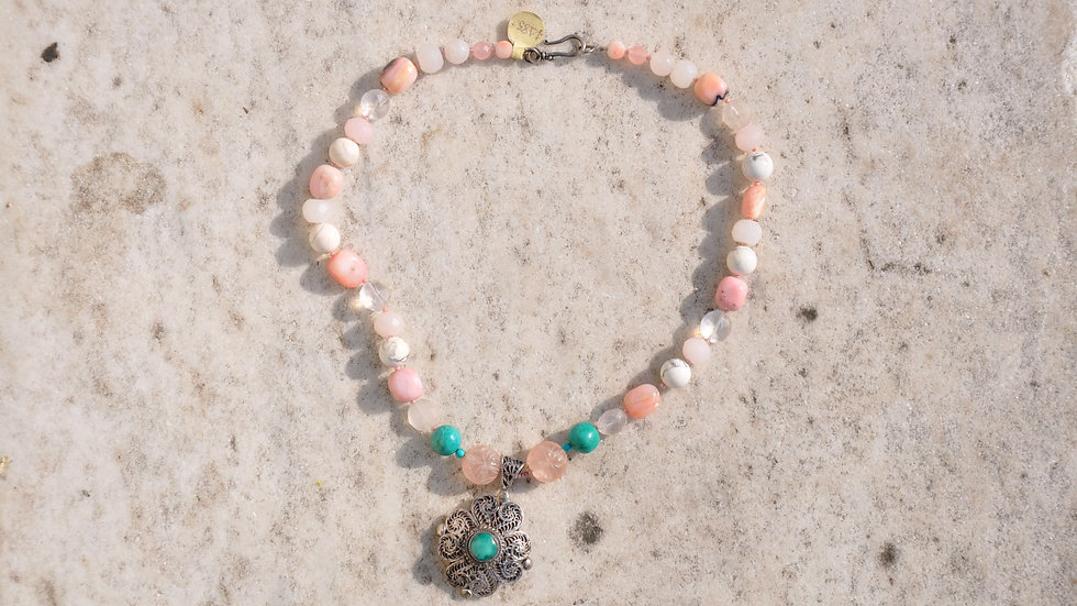 Semi Precious Pink And Turquoise Stone Necklace