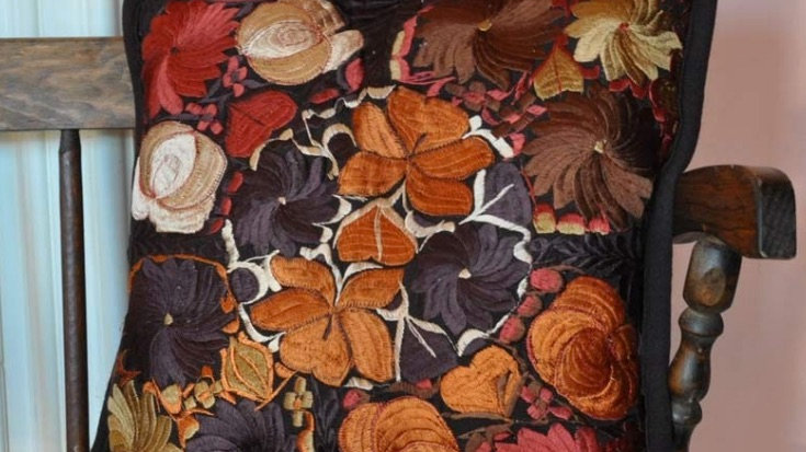 Fall Time Embroidered Pillow Case