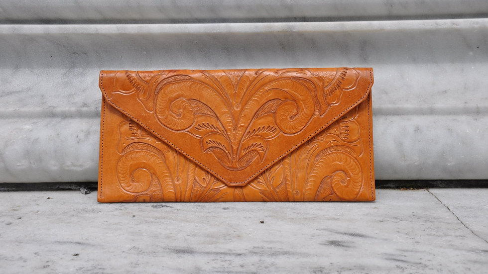 Yellow Hand Carved Leather Clutch