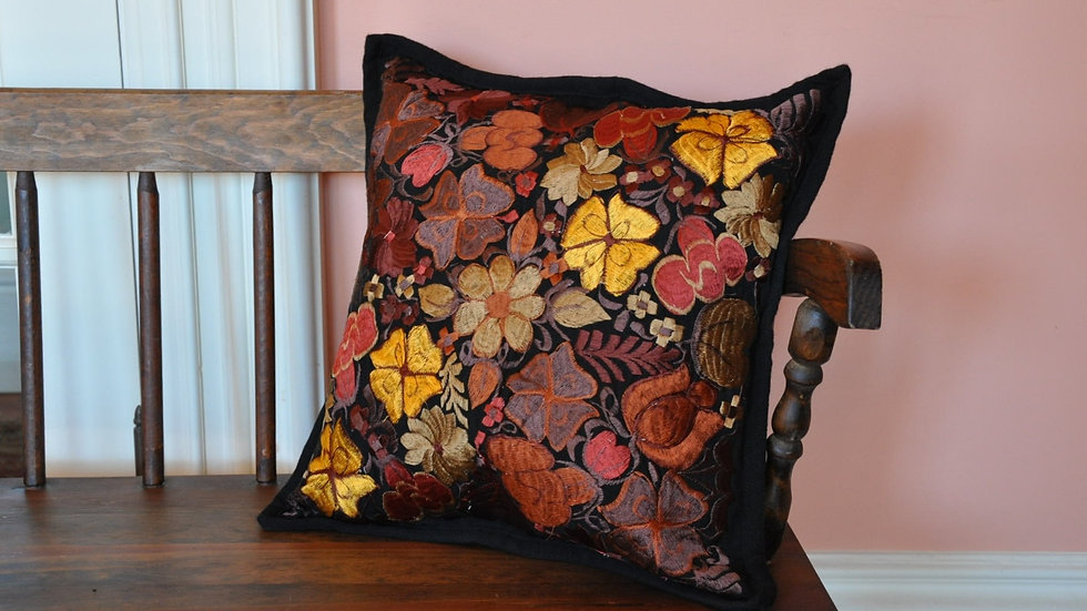 Black Embroidered Pillow Case