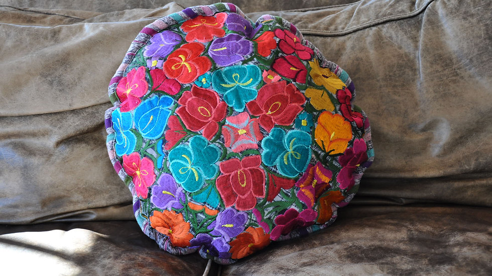 Colorful Floral Round Pillow case
