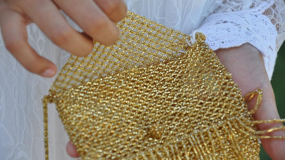 Handmade Gold Beaded Pouch