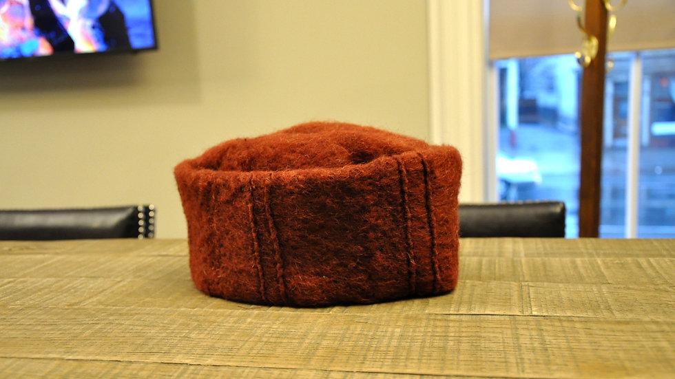Burgundy Wool & Cotton Hat