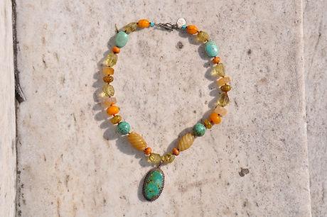 semi precious necklace, turquoise stone, boho style