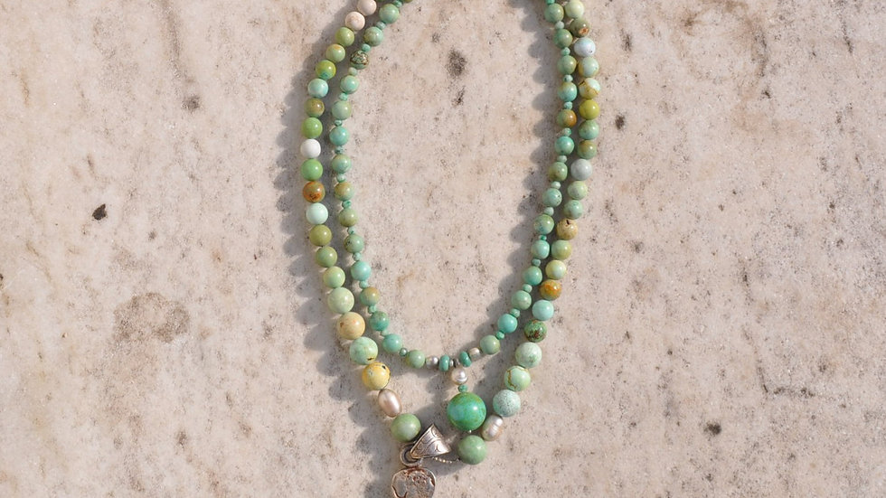 Oval Two Strand Turquoise Stone Necklace