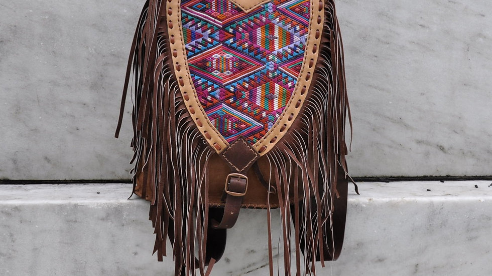 Brown Leather Fringe Huipil Backpack