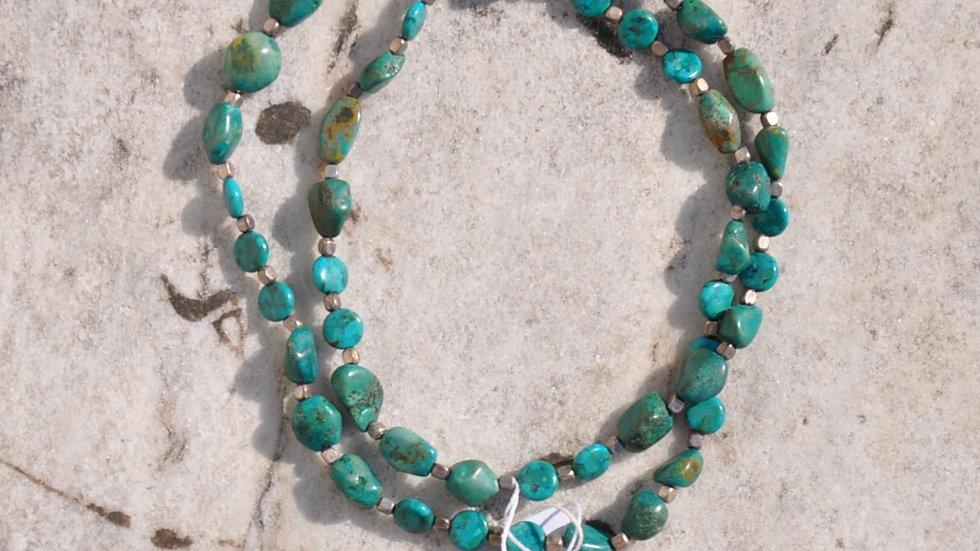 Double Strand Turquoise Stone Necklace
