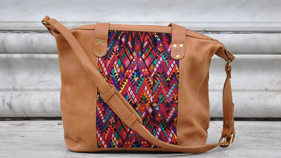 LEATHER AND MAYAN STAR WEEKENDER BAG