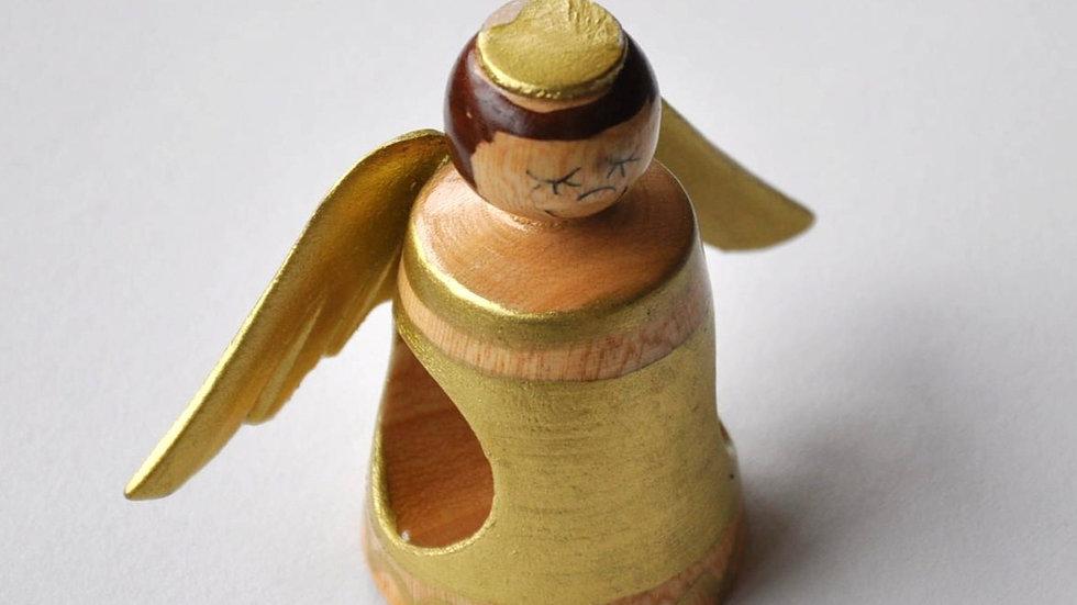 Handmade Golden Wooden Angel Ornaments