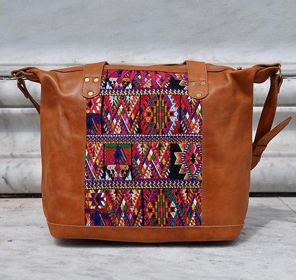 weekender, leather bag, boho carryall bag, guatemala bag