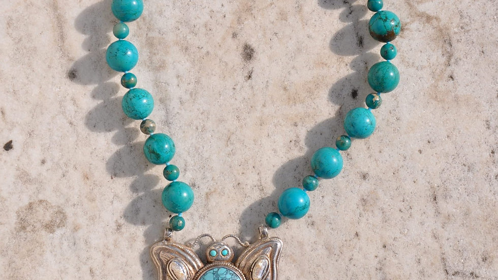 Turquoise Stone Butterfly Necklace