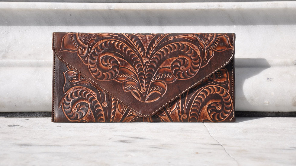 Brown Hand Carved Leather Clutch