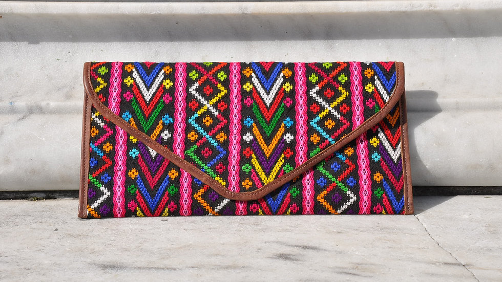 COLORFUL EXOTIC MAYAN FABRIC CLUTCH