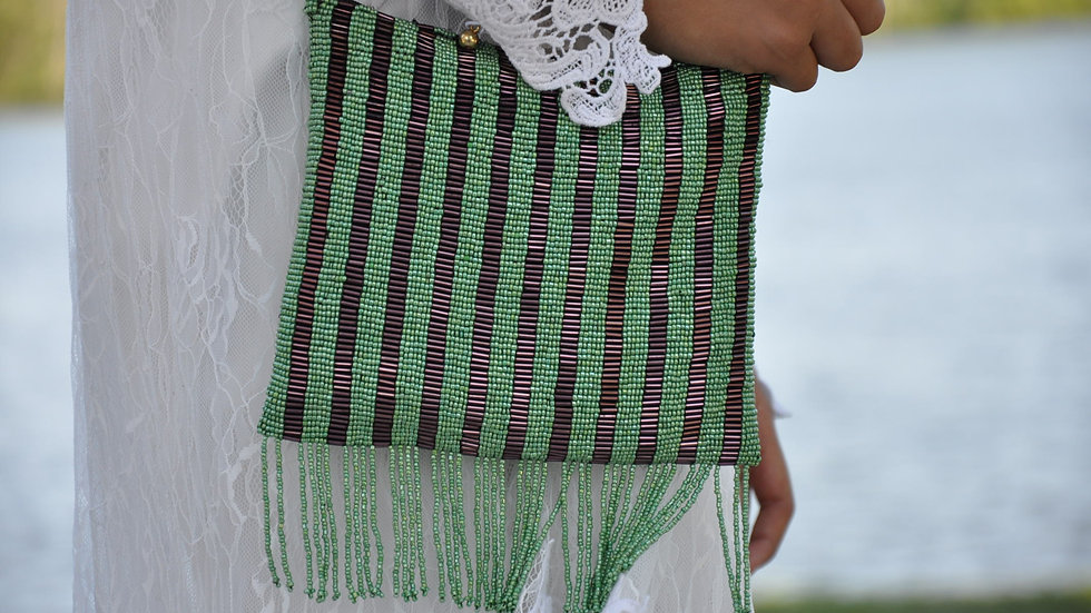Handmade Green Striped Beaded Pouch